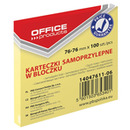 Bloczek samop. OFFICE PRODUCTS, 76x76mm, 100 kart., jasnożółte